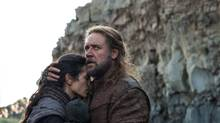 Noah and his wife Naameh (Russell Crowe and Jennifer Connelly, in Darren Aronofsky's biblical saga. (Niko Tavernise/AP)
