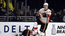 Calgary Flames right wing Alex Chiasson celebrates after scoring a goal in the second period against the Los Angeles Kings at Staples Center. (Kirby Lee/USA Today Sports)