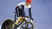 Britain's Victoria Pendleton competes with Belarus' Olga Panarina (unseen) during the track cycling women's sprint quarterfinals at the Velodrome during the London 2012 Olympic Games on Monday. (STEFANO RELLANDINI/REUTERS)