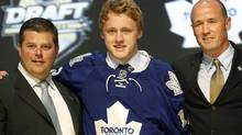 Morgan Rielly, a defenceman, after being chosen fifth overall by the Toronto Maple Leafs in the first round of the NHL draft on Friday, June 22, 2012, in Pittsburgh. (Keith Srakocic/AP)