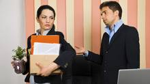 A businesswoman is fired from her job. (Blaj Gabriel/Getty Images/iStockphoto)