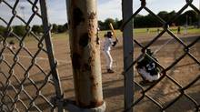 Rust on the fencing on the baseball diamond at Greenwood Park as players from the East York Bulldogs took on the Newmarket Hawks of the Greater Toronto Baseball League (Moe Doiron/Moe Doiron/The Globe and Mail)