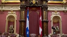 The Canadian flag is seen inside the Rede Chamber in the National Assembly in Quebec City. (CP)