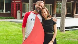Moksha Yoga co-founder Jessica Robertson, right, with business partner Ted Grand.