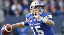 Winnipeg Blue Bombers quarterback Matt Nichols (15) throws against the B.C. Lions during the first half of CFL action in Winnipeg Saturday, October 8, 2016. (John Woods/THE CANADIAN PRESS)