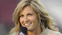 ESPN commentator Erin Andrews reports as the Pittsburgh Panthers upset the University of South Florida Bulls at Raymond James Stadium on October 2, 2008 in Tampa, Florida. (Photo by Al Messerschmidt/Getty Images)