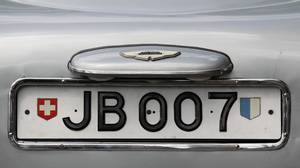 The rotating number plate on the original 1963 Aston Martin DB5, driven by actor Sean Connery in the James Bond films Goldfinger and Thunderball.