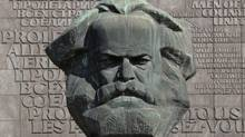A bust of Karl Marx (1818-1883) stands in Chemnitz, eastern Germany, where bank cards bearing an image of Marx are in demand. (Uwe Meinhold/AP)