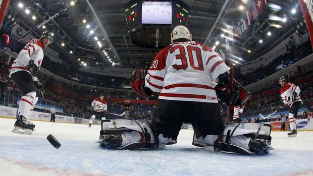 Canada's goalie Malcolm Subban lets in what proved to be the game winning goal by USA's Jake McCabe, not seen, as Canada's Tyler Wotherspoon looks on during the first period in their semi-final game at the 2013 IIHF U20 World Junior Hockey Championship in Ufa January 3, 2013. (MARK BLINCH/REUTERS)