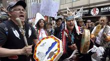 First Nations members protest outside the Enbridge Inc. annual shareholders' meeting in Toronto May 9. (MIKE CASSESE/MIKE CASSESE/REUTERS)