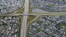 Suburbs straddling the Deerfoot Trail in south east Calgary, Ab. can be seen in an aerial photograph Aug. 31/2010.(Photo by Kevin Van Paassen/The Globe and Mail) (Kevin Van Paassen/The Globe and Mail)