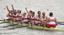 The Canada's men's eight rowing team celebrate their silver medal win in London, England, August 1, 2012. (Kevin Van Paassen/The Globe and Mail)