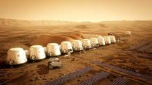 An artist's rendition of the Mars One settlement. At least 35 Canadians have applied on line for the Mars One mission to the red planet in 2023. (Bryan Versteeg/CP)