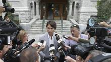 Liberal Leader Justin Trudeau answers questions from the media in Quebec City, Thursday August 22, 2013. (FRANCIS VACHON/THE CANADIAN PRESS)