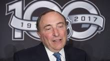 NHL Commissioner Gary Bettman speaks with the media following the announcement of a Heritage Classic game between the Ottawa Senators and the Montreal Canadiens, Friday March 17, 2017 in Ottawa. (Adrian Wyld/THE CANADIAN PRESS)
