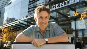 Alan Franey, founding festival director of the Vancouver International Film Centre stands in front of the VIFF's centre in downtown Vancouver in 2006.