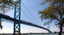 The Ambassador Bridge spanning the Detroit River between Ontario and Michigan sees a heavy flow of goods between the two countries. (Mark Spowart/THE CANADIAN PRESS)