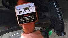 Gas pump climate change warning label proposed by Our Horizon (Our Horizon)
