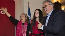 Emmanuella Lambropoulos, centre, celebrates with supportes after winning the Liberal party nomination for the riding of Saint-Laurent in Montreal, Wednesday, March 8, 2017. (Graham Hughes/THE CANADIAN PRESS)
