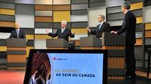 The leaders of four federal political parties take part in the French-language debate Wednesday night. (Sean Kilpatrick/The Canadian Press)
