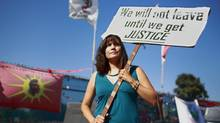 Cecilia Point, band member and spokeswoman for the Musqueam Indian Band, protests at the Marpole Midden site in Vancouver, British Columbia August 11, 2012. (Jeff Vinnick/The Globe and Mail)