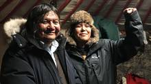 Arthur Manuel at Standing Rock, North Dakota, in December 2016, with his daughter Kanahus Manuel. (Tupac Enrique Acosta)