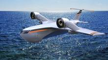 The Shango concept, a plane with vertical take-off that can carry 40-foot containers. (Charles Bombardier)