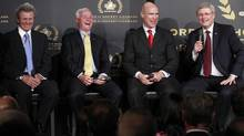Order of Hockey in Canada recipients Paul Henderson (L-R), Dave King, Mark Messier and Canada's Prime Minister Stephen Harper share a laugh during a ceremony on Parliament Hill in Ottawa April 8, 2013. (BLAIR GABLE/REUTERS)