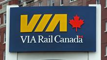 A VIA Rail sign at the train station in Halifax on Wednesday, June 27, 2012. The company is expected to release the next phase of its modernization plan which may include cuts to rail passenger service. (Andrew Vaughan/THE CANADIAN PRESS)