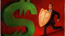 An illustration of a man in a business suit holding a shield against a menacing dollar sign. (Steve Adams For The Globe and Mail)