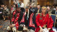 Chief Na'Moks of the Wet'suwet'en Nation, left, Chief Martin Louie of Nadleh Whut'en, centre, and Chief Jackie Thomas of the Saik'az nation attended the Enbridge Inc. annual general meeting for shareholders in Toronto May 9, 2012 to express their opposition to the Northern Gateway pipeline. (MARK BLINCH/MARK BLINCH/REUTERS)