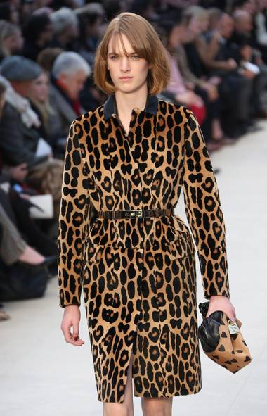 Animal spots A model wears a design created by Burberry Prorsum during London Fashion Week, at Kensington Gardens in west London, Monday, Feb. 18, 2013. This look was also seen at Simone Rocha and Tom Ford. (Joel Ryan/Invision/The Associated Press)