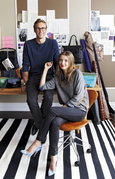 <p>Martin and Ela Aldorsson are gaining growing acclaim for their Ela collection of clutches, totes and other bags.</p>