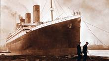 This is a photograph of the Titanic from a family album. (Ulster Folk & Transport Museum/THE ASSOCIATED PRESS)
