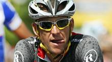 Seven-time Tour de France winner Lance Armstrong of the U.S. reacts during the Tour of California in Visalia, Calif. (ANTHONY BOLANTE/REUTERS)