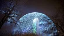 The Buckminster Fuller geodesic dome, now known as the Biosphere, is being illuminated at the former Expo site as part of Montreal's 375 th anniversary celebrations in 2017. (Sarah Mongeau-Birkett for The Globe and Mail)