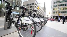 The bicycles now branded under the name Bixi will be provided under a program called Bike Share Toronto, starting April 1, 2014. (Gloria Nieto/The Globe and Mail)