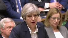 Britain's Prime Minister Theresa May speaks in the House of Commons in London in this image taken from video Wednesday March 29, 2017. (AP)