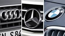 A composite image showing logos of Audi, Mercedes-Benz and BMW. The three German auto makers are fighting for the crown of No. 1 in sales. (Audi, Mercedes-Benz, BMW)