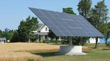 A solar panel in operation on a farm in southwestern Ontario. (Randall Moore/The Globe and Mail)