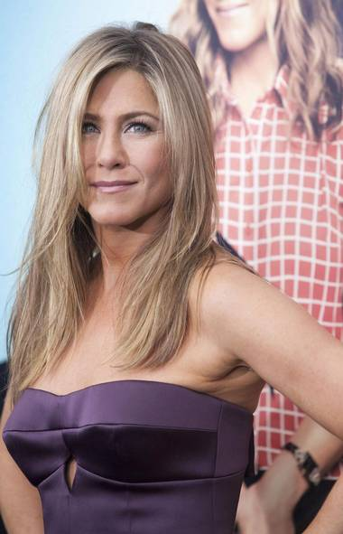 Hey, Jennifer Aniston at the premiere of We're the Millers in New York last week: Brad Pitt called and he wants his hair back. (See what I did there?) (Keith Bedford/Reuters)