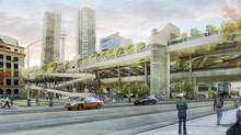 An artist's conception of the Gardiner Green Ribbon, a proposed development to add green space above the Gardiner Expressway in Toronto. (Kriss Communications/Quadrangle Architects Ltd.)