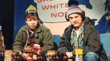 Rick Moranis (left) and Dave Thomas, are shown in this undated handout photo as the characters Bob and Doug McKenzie in this scene from the SCTV comedy series. (CP)