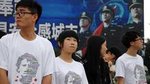High school students attending an off-shore B.C. school in the city of Tongxiang, China, near Shanghai, participate in a Terry Fox run on June 13, 2013, to help them culturally integrate when they move to Canada next year for university. (Tamsyn Burgmann/THE CANADIAN PRESS)