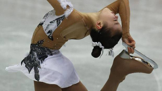 Park Yeon-jun of South Korea performs during the women short program event at the ISU Four Continents Figure Skating Championships in Osaka, western Japan, Saturday, Feb. 9, 2013. (Shizuo Kambayashi/AP)