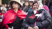 St. Michael's Residential School survivors Gladys Tom-Osawamick and Lillian West during a symbolic decommission and demolition of the former residential school in Alert Bay February 18, 2015 (John Lehmann/The Globe and Mail)