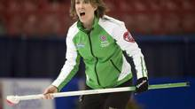 Saskatchewan skip Stefanie Lawton calls a shot during her match against Quebec at the Scotties Tournament of Hearts draw eight curling action Tuesday, February 4, 2014 in Montreal. (Ryan Remiorz/THE CANADIAN PRESS)