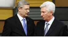 Canada's Prime Minister Stephen Harper (L) and Bloc Quebecois leader Gilles Duceppe meet prior to the French language leaders' debate in Ottawa April 13, 2011. Canadians will head to the polls in a federal election on May 2. (BLAIR GABLE/REUTERS)