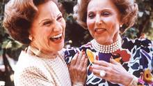 Advice columnist Ann Landers, right, and her twin sister, Abigail Van Buren, who also wrote an advice column as Dear Abby. (JOHN GAPS III/AP)