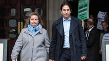 Charles Keidan (R) and Rebecca Steinfeld (L) leave the Royal Courts of Justice, Strand on February 21, 2017 in London, England. (Jack Taylor/Getty Images)